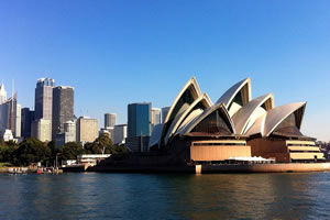 View the Sydney Opera House from Darling Harbour on Labour Day